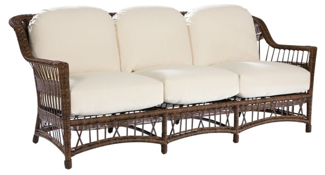 "Bar Harbor 80"" Sofa, Brown/White"