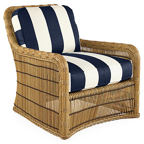 Rafter Striped Lounge Chair, Navy