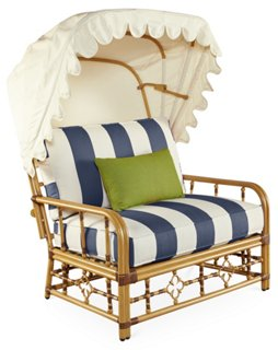 Mimi Cuddle Chair U0026 Canopy, Navy Stripe Sunbrella   Alfresco Dining    Outdoor Essentials   Outdoor | One Kings Lane