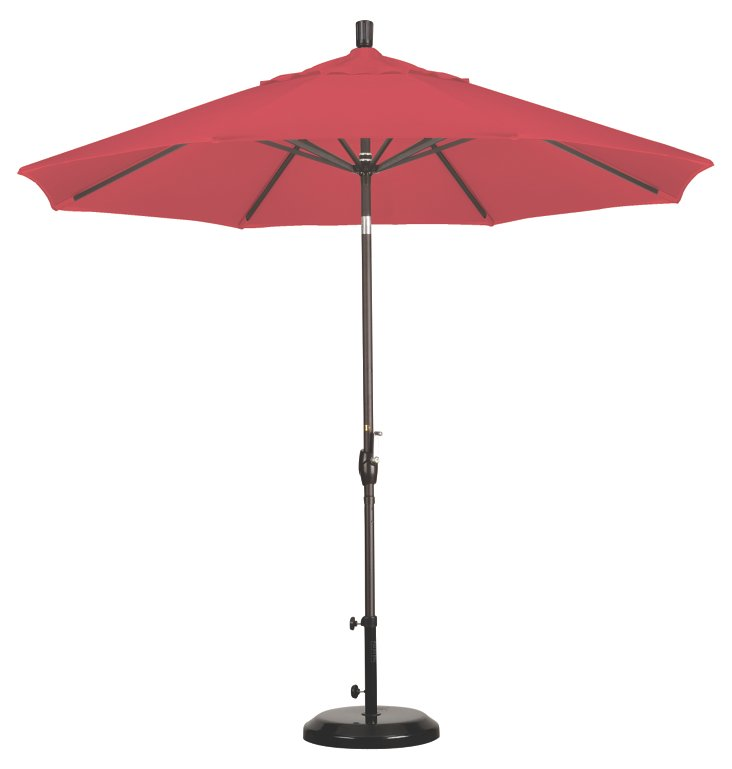 9' Market Umbrella, Bronze/Red