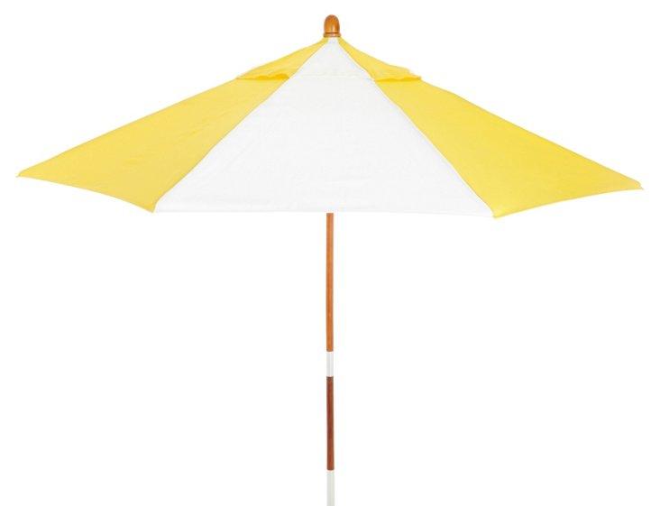Miami Patio Umbrella, Wood/Yellow