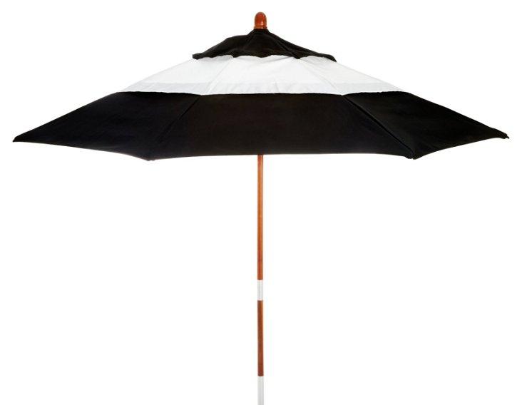 Colorblock Patio Umbrella, Black/White