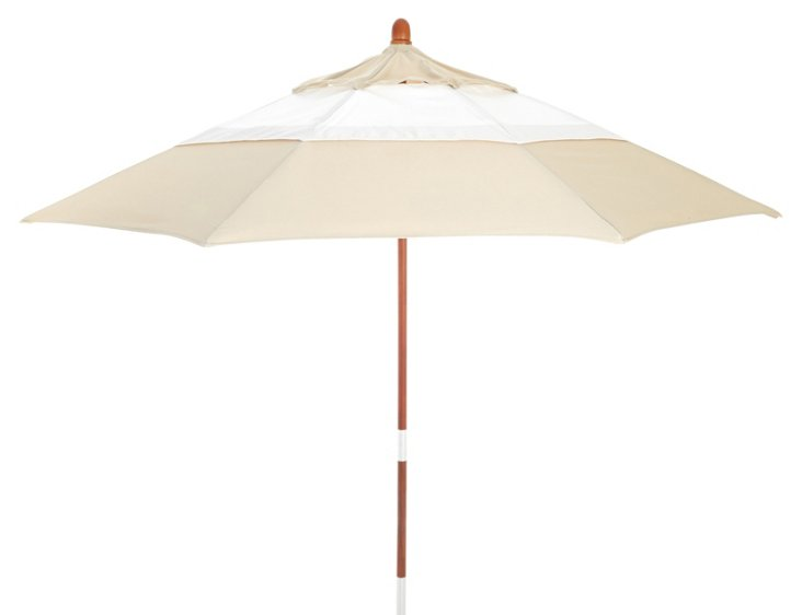 Malibu Patio Umbrella, Wood/Beige