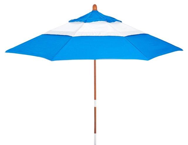 Colorblock Patio Umbrella, Blue/White