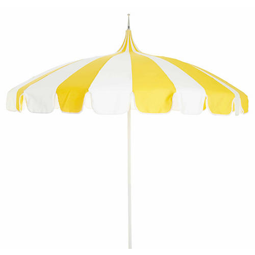 Light Yellow Striped Basics Beach Umbrella