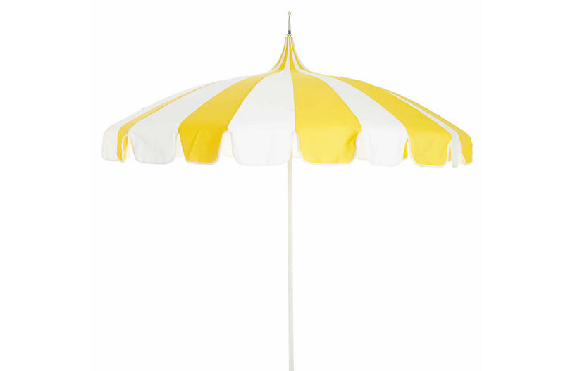 Pagoda Patio Umbrella, Yellow/White
