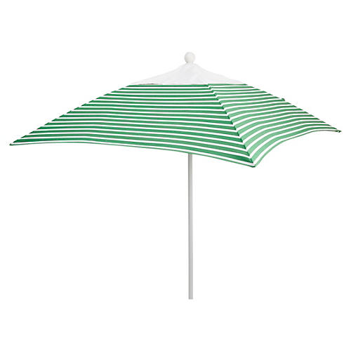 Square 6' Patio Umbrella, Emerald Stripe