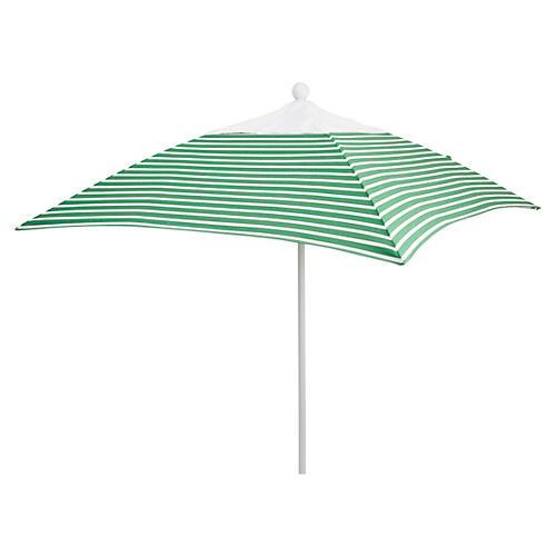 Square 6' Patio Umbrella, Emerald Stripe