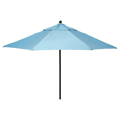 Veda Patio Umbrella, Mineral Blue Sunbrella