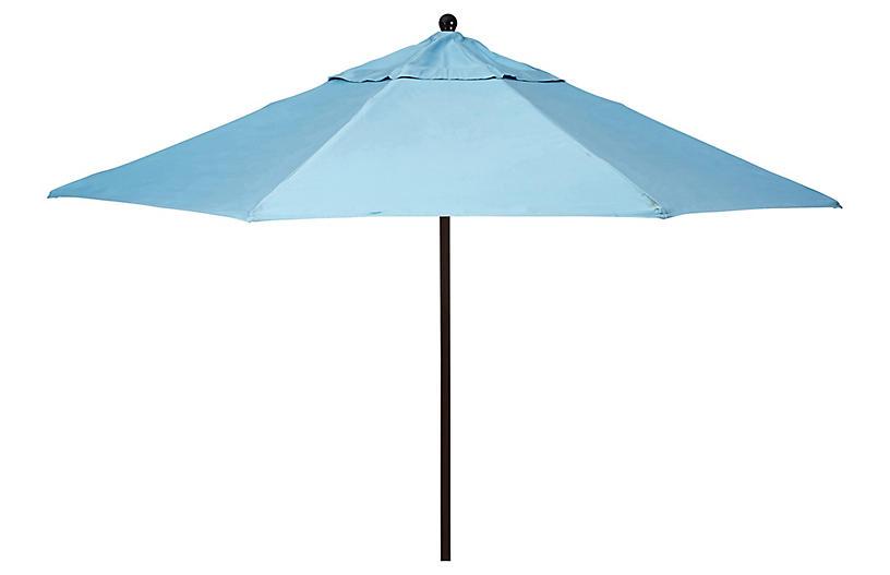 Veda Patio Umbrella, Mineral Blue Sunbrella