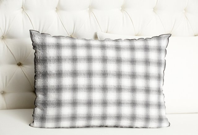 Crinkle Plaid Sham, Gray