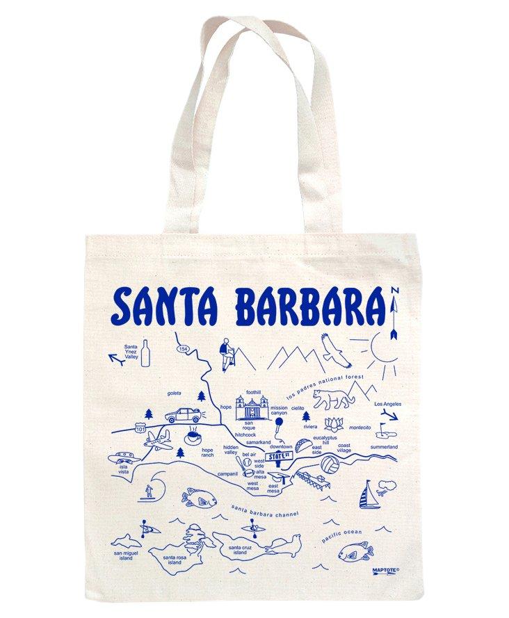 Santa Barbara Grocery Tote, Blue/Natural