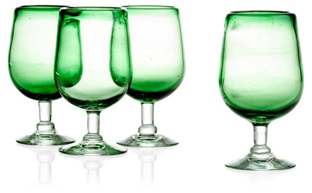 S/4 Colored Beer/Water Goblets, Green