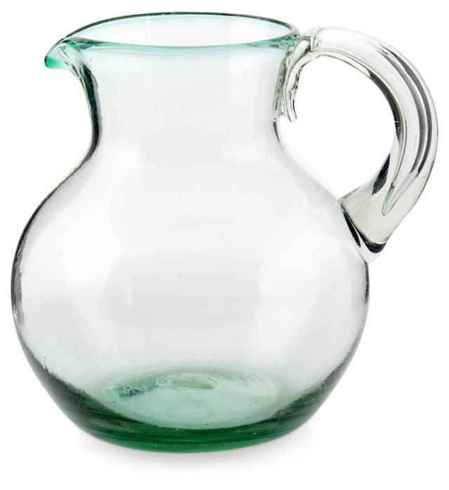 Handblown Green Glass Pitcher