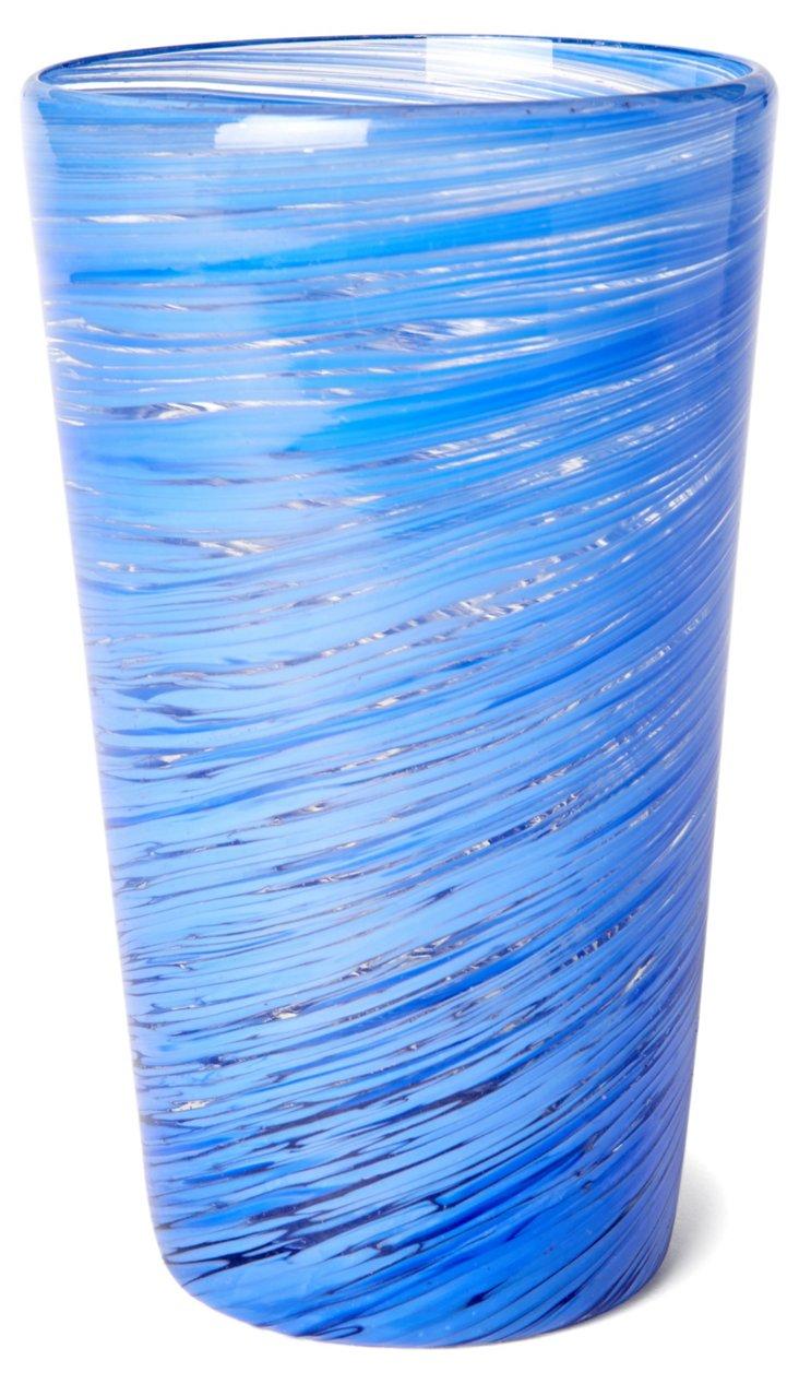S/4 Blue Swirl Highball Glasses