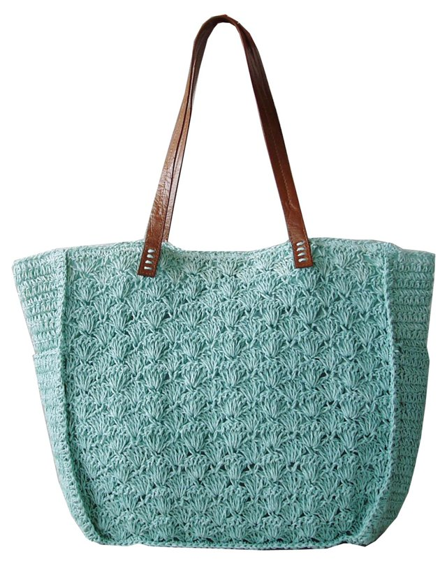 Crochet Tote, Light Blue