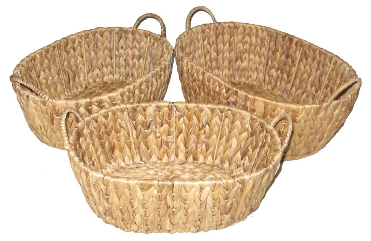Asst of 3 Oval Handled Baskets