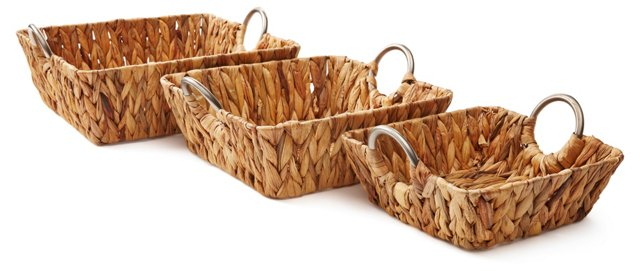 Asst of 3 Square Hyacinth Baskets