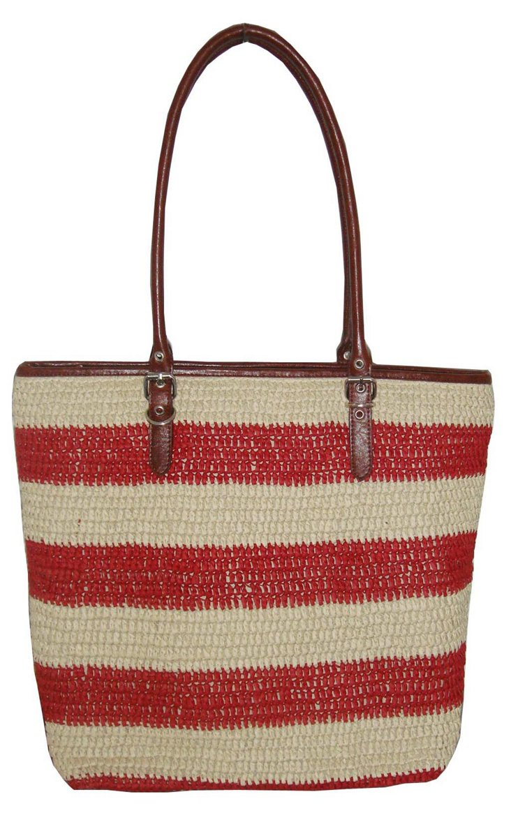 Large Striped Tote, Red