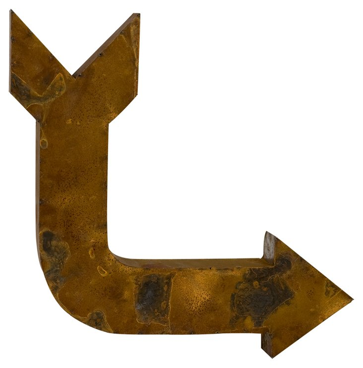 Reclaimed Tin Crooked Arrow, Rust