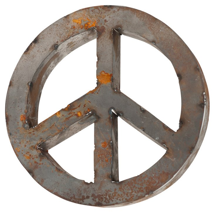 Backless Reclaimed Tin Peace Sign, Rust