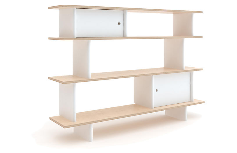 Mini Bookshelf, White/Natural