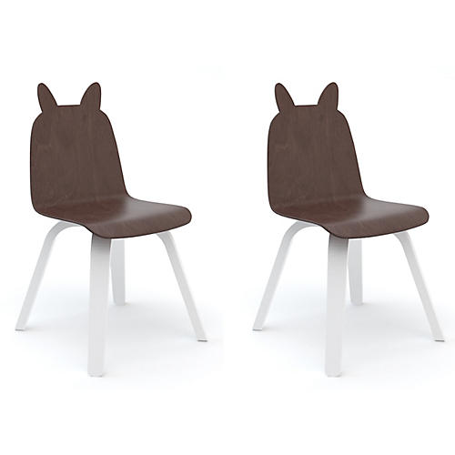 S/2 Rabbit Play Accent Chairs, Walnut