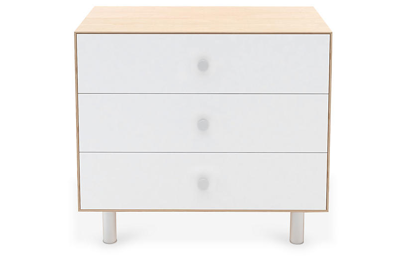 Classic 3-Drawer Dresser, White/Natural