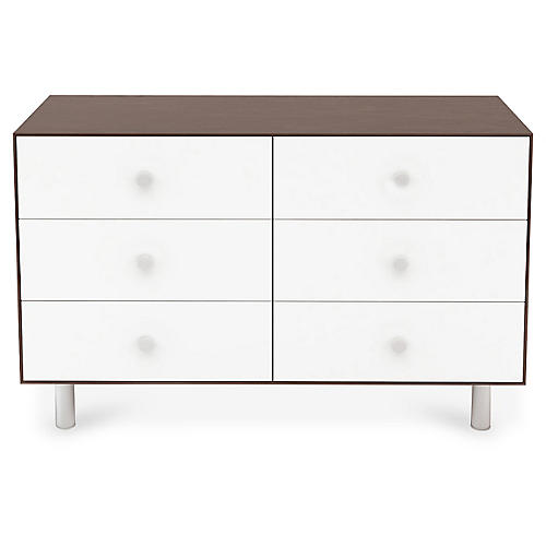 Classic 6-Drawer Dresser, White/Walnut