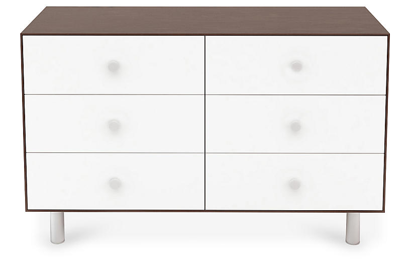 Classic 6-Drawer Dresser, White/Walnut