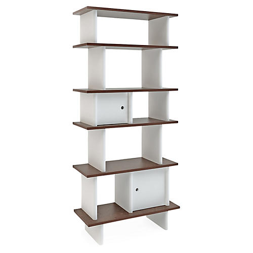 Vertical Mini Bookshelf, White/Walnut
