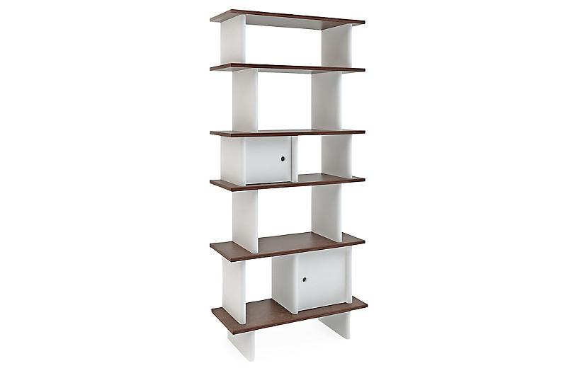 Vertical Mini Bookshelf, White/Walnut