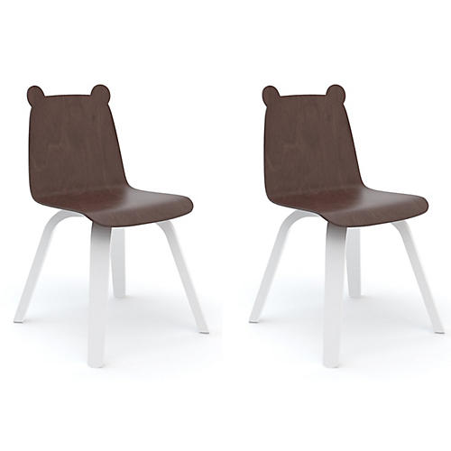 S/2 Bear Play Accent Chairs, Walnut/White