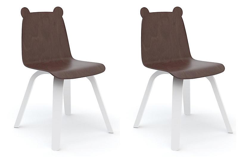 S/2 Bear Play Side Chair, Walnut/White