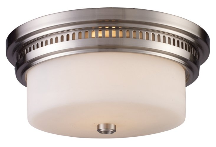 Clyde Flush Mount, Brushed Nickel