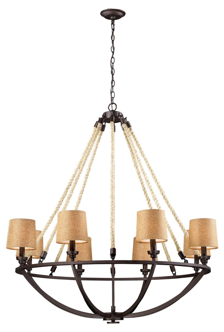 Quincy 8-Light Natural Rope Chandelier