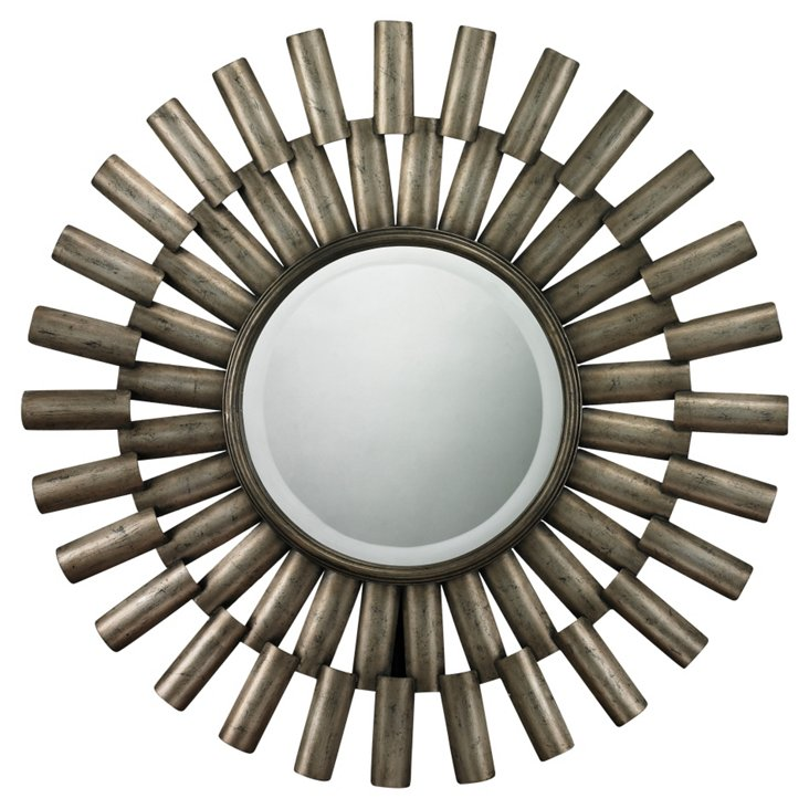 Hartford Sunburst Wall Mirror, Silver