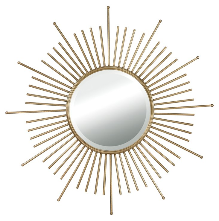 McCook Sunburst Wall Mirror, Gold Leaf