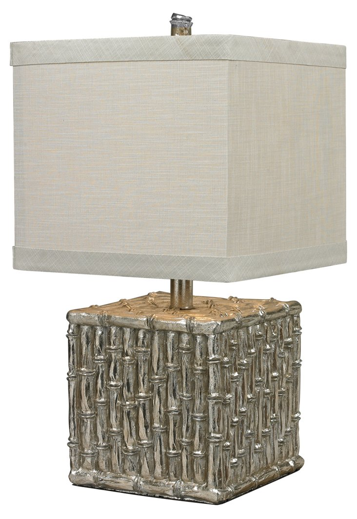 Gardiner Bamboo Table Lamp, Silver Leaf