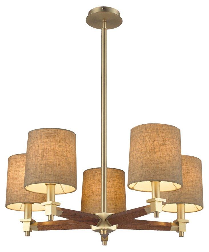 Dalton 5-Light Pendant, Satin Brass