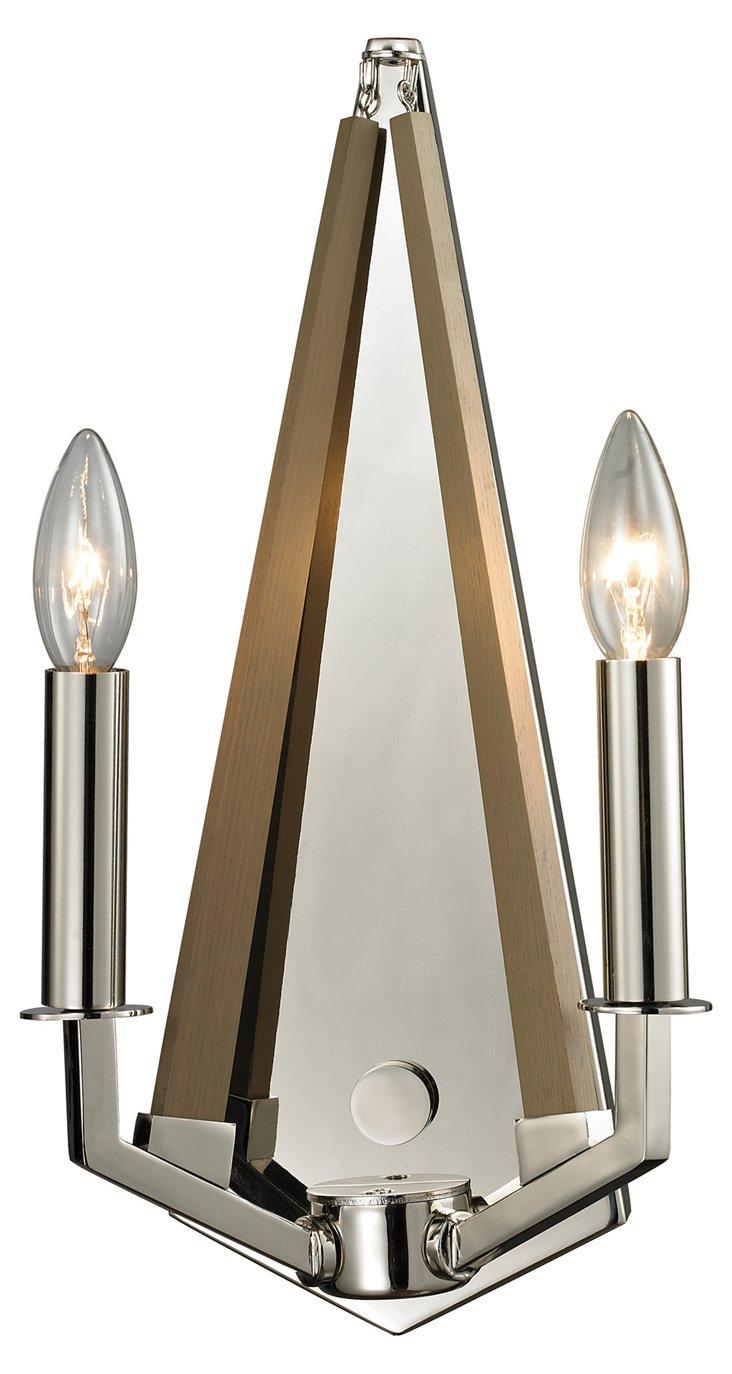 Mendon 2-Light Sconce, Polished Nickel
