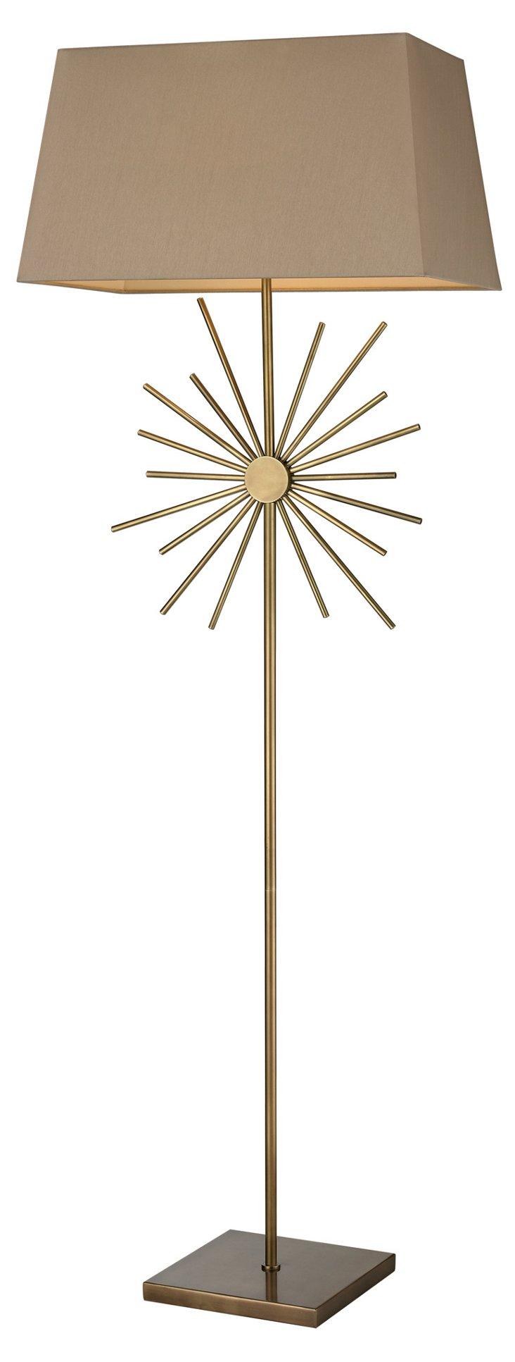Starburst Floor Lamp, Antiqued Brass