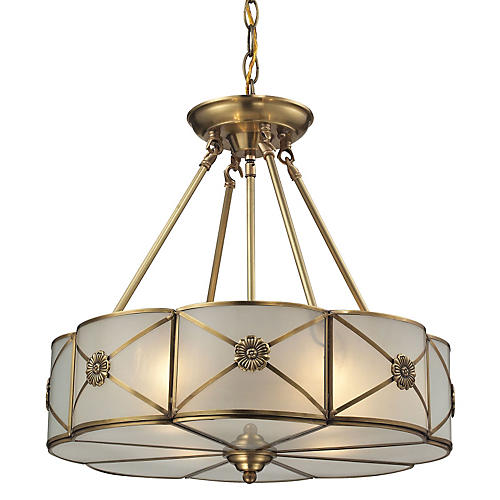 4-Light Medallion Pendant, Brushed Brass