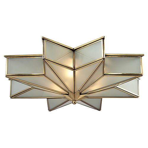 3-Light Decostar Flush Mount, Brass