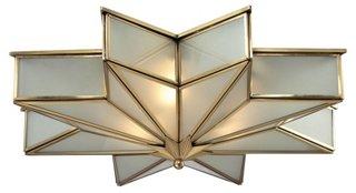 3-Light Decostar Flush Mount, Brass