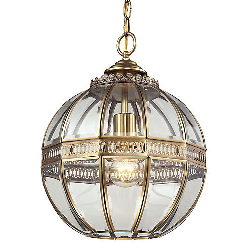 Thea 1-Light Globe Pendant, Brass