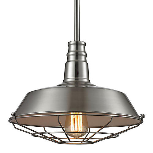1-Light Pendant, Satin Nickel