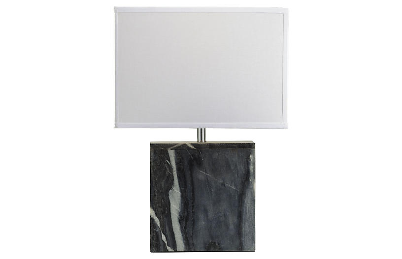 Square Marble Table Lamp, Gray
