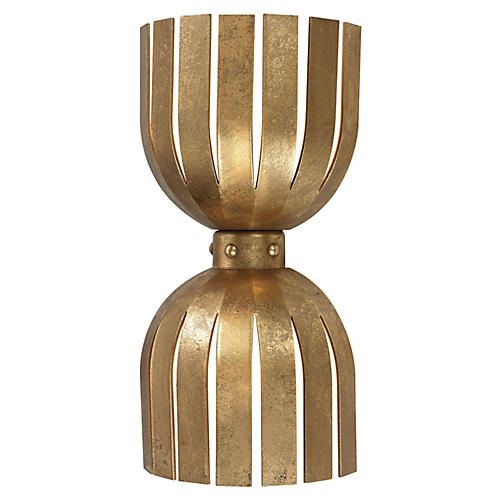 Olympia Double Wall Sconce, Gold Leaf
