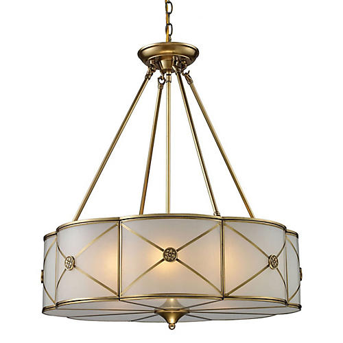 Preston 6-Light Pendant, Brushed Brass